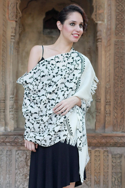 Hand Made Women's Wrap Wool Embroidered Shawl 'Black Lilies'