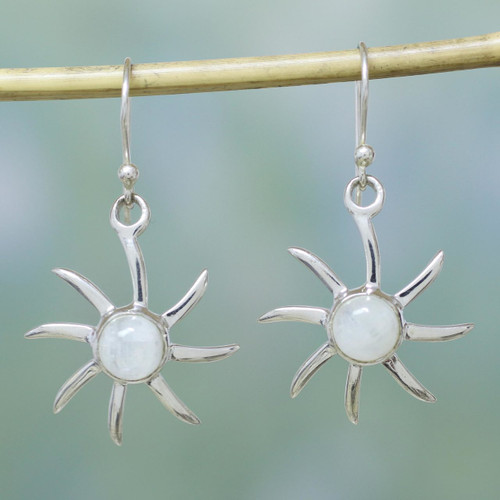 Hand Crafted Moonstone and Sterling Silver Dangle Earrings 'Rainbow Sun'