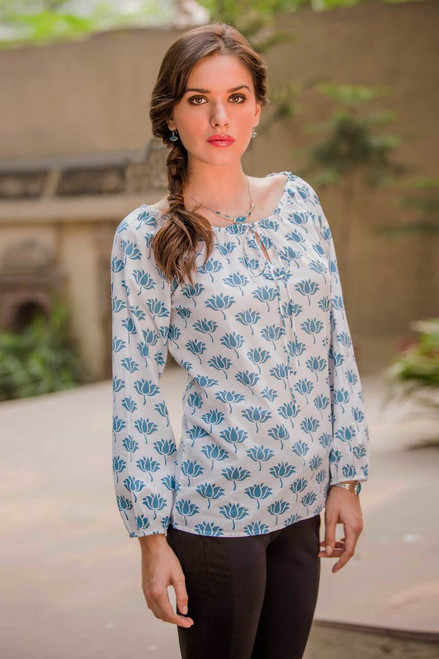 Screen Print Cotton Blouse with Elasticized Neck and Cuffs 'Blue Lotus'
