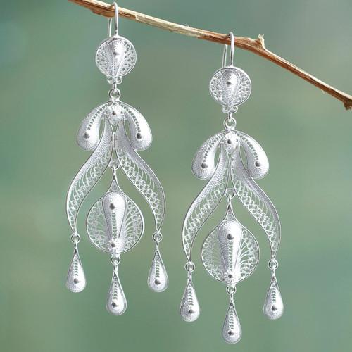 Peruvian Fine 950 Silver Chandelier Earrings 'Filigree Teardrops'