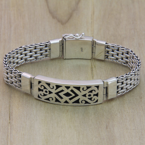 Men's Handmade Sterling Silver Link Bracelet 'Balinese Warrior'