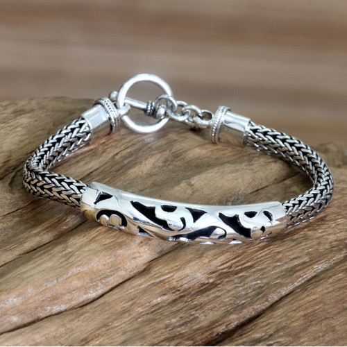 Handcrafted Sterling Silver Bracelet 'Balinese Finesse'