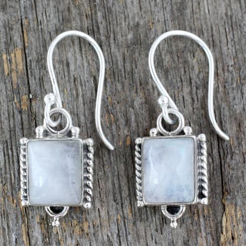 Handmade Sterling Silver and Moonstone Earrings 'Mystic Sky'