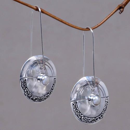 Modern Pearl Sterling Silver Drop Earrings 'Moonlight Sand'