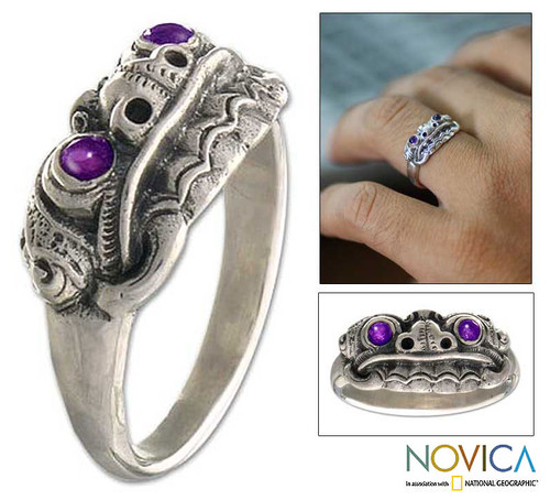 Men's Artisan Crafted Sterling Silver and Amethyst Ring 'Immortal Eclipse'