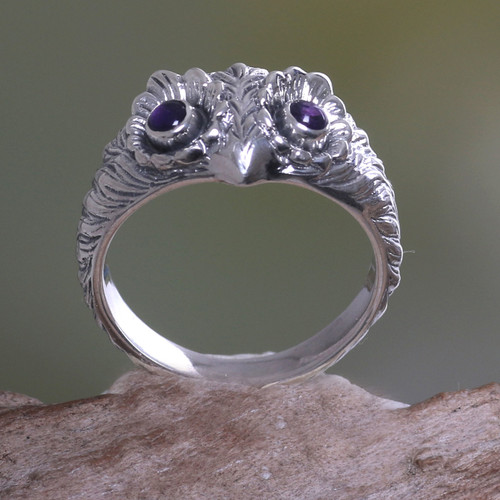 Amethyst and Silver Bird Ring 'Owl Wisdom'