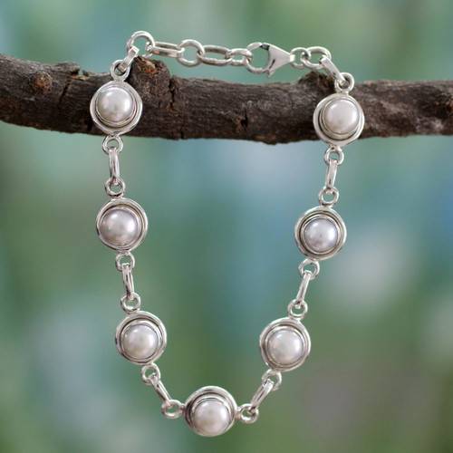 Hand Made Bridal Sterling Silver Link Pearl Bracelet 'White Cloud'