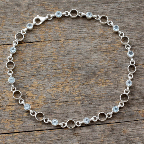 Link Style Anklet with Blue Topaz and Sterling SIlver 'Elegant Simplicity'