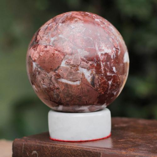 Garnet Sphere Sculpture with Calcite Stand 'Romance'