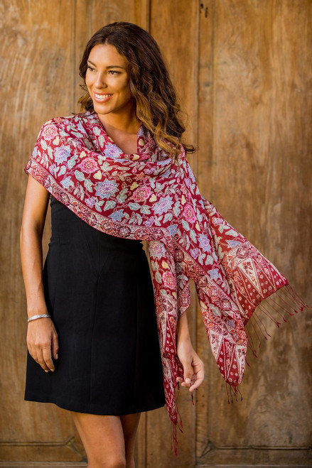 Artisan Crafted Batik Silk Shawl Wrap 'Wine Garden'