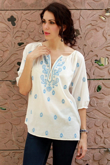 Embroidered White Cotton Top 'Majestic Blue'