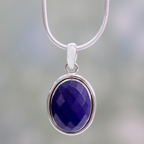 Fair Trade Jewelry Lapis Lazuli and Sterling Silver Necklace 'Blue Destiny'