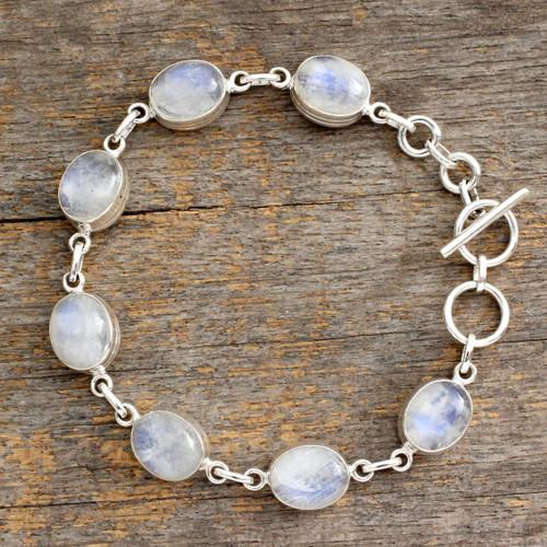 Rainbow Moonstone link bracelet 'Mysteries'
