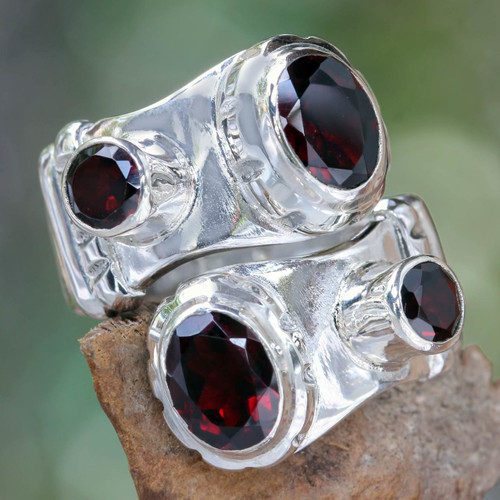 Indonesian Sterling Silver and Garnet Wrap Ring 'Garnet Comet'