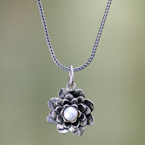 Sterling Silver and Pearl Pendant Necklace 'Sacred White Lotus'