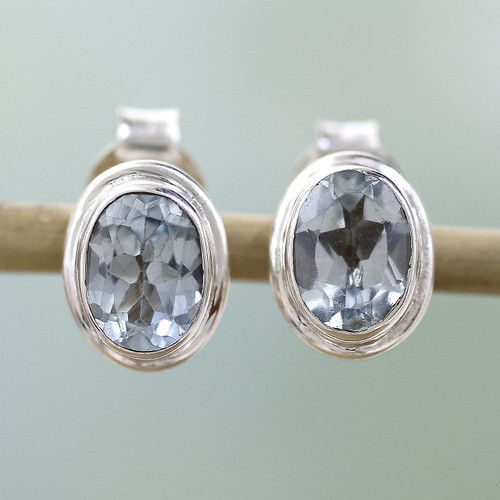 Blue Topaz Earrings Sterling Silver Studs  'Sky Duet'