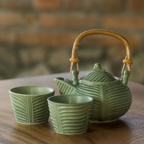 Leaf and Tree Ceramic Tea Set from Indonesia (Set for 2) 'Banana Frog'