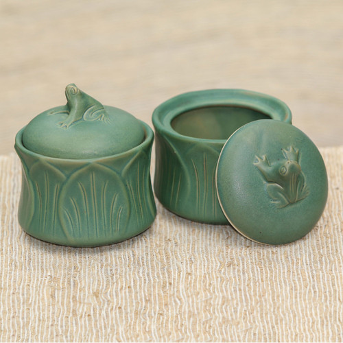 Fair Trade Ceramic Condiment Jars (Set of 2) 'Leaping Frogs'