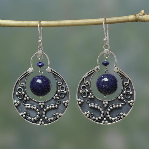 Sterling Silver Lapis Lazuli Earrings Artisan Jewelry 'Royal Moon'