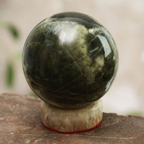 Serpentine Sphere Sculpture with Calcite Base 'Marine Depths'