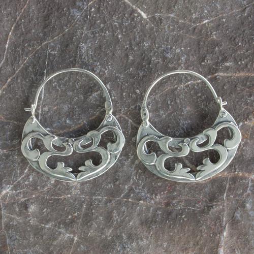 Silver Hoop Earrings Handmade in Mexico 'Dancing River'