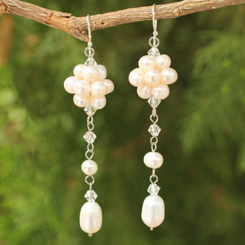 Bridal Sterling Silver and Pearl Dangle Earrings 'Offer of Grace'
