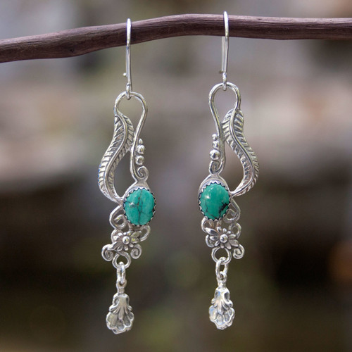 Fair Trade Floral Earrings of Silver with Natural Turquoise 'Daydream'