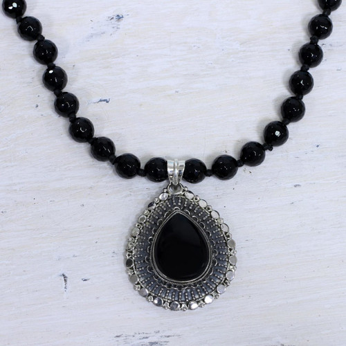 Onyx and Sterling Silver Necklace Fair Trade Jewelry 'Floral Tear'