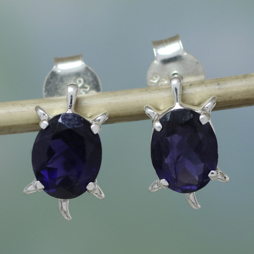 Artisan Jewelry Earrings Sterling Silver and Iolite 'Crystal Turtle'
