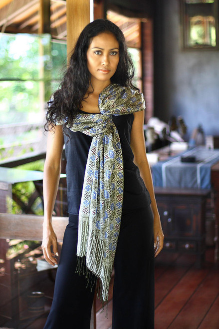 Indonesian Floral Silk Shawl 'Blue Floral Stars'