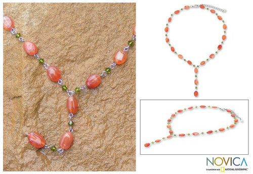 Carnelian Y Necklace 'Orange Marmalade'