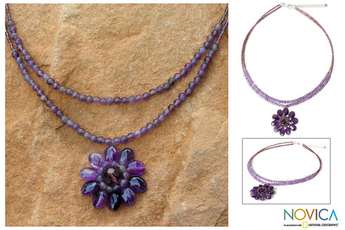 Floral Amethyst Necklace from Thailand 'Chrysanthemum'
