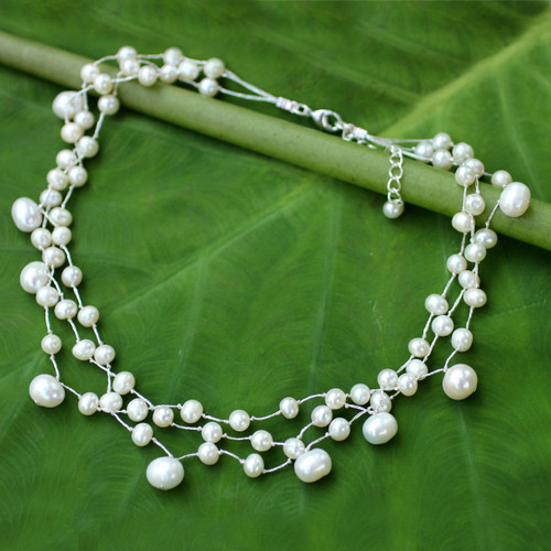 Artisan Crafted Pearl Choker 'Moonlight Glow'