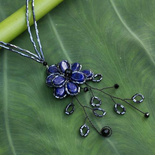 Hand Crafted Floral Lapis Lazuli Pendant Necklace 'Blue Camellia'