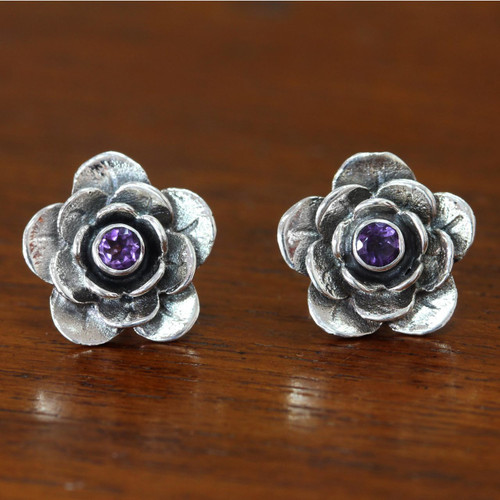 Handmade Floral Sterling Silver and Amethyst Button Earrings 'Camellia'