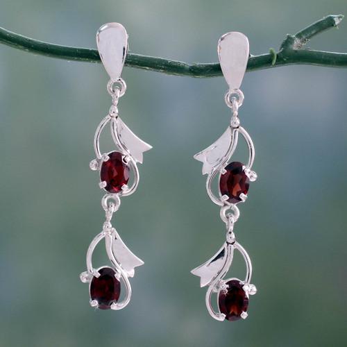 Garnet earrings 'Buds of Passion'