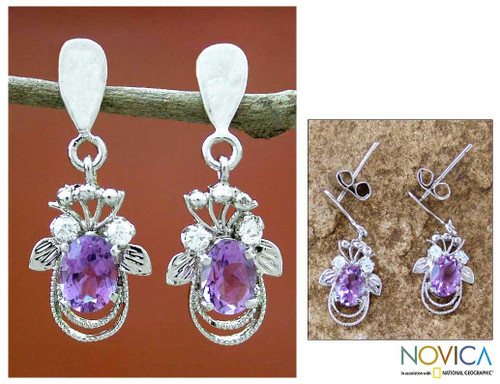 Amethyst earrings 'Mystical Butterflies'