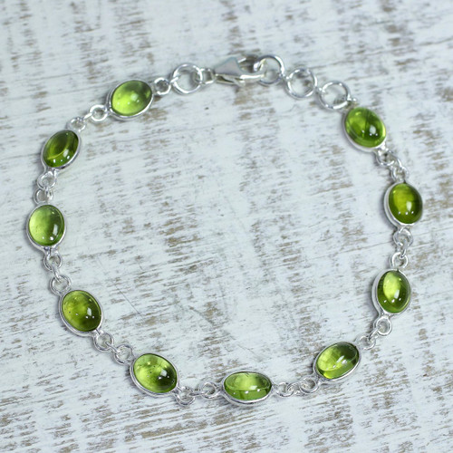 Peridot and Sterling Silver Link Bracelet from India 'Elegant'
