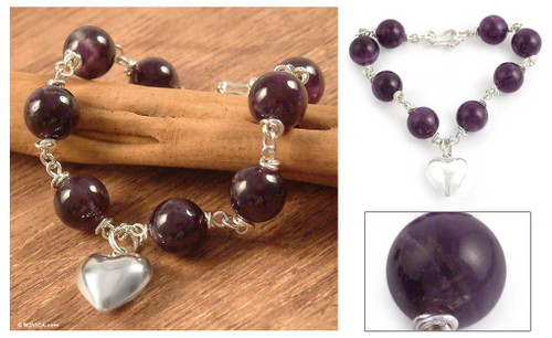 Amethyst and Silver Charm Bracelet 'Sincere Heart'