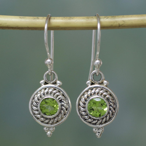 Fair Trade Jewelry Sterling Silver and Peridot Earrings 'Lemon-Lime Drops'