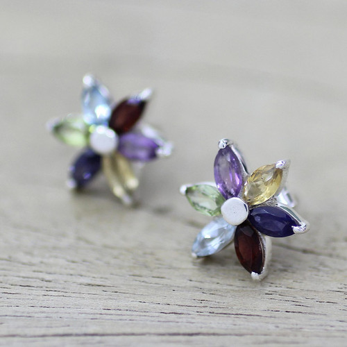 Floral Earrings in Sterling Silver and Natural Gemstones 'Paradise in Bloom'
