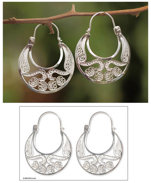 Hand Crafted Fine Silver Filigree Earrings 'Half Moon'