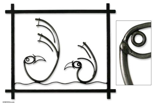 Steel wall art 'Chancay Birds'