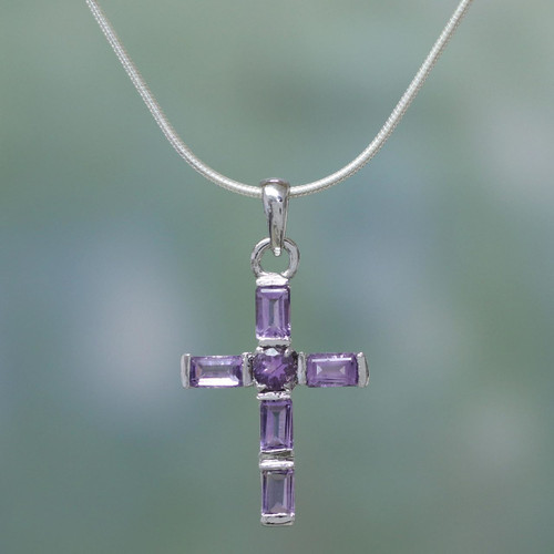 Amethyst Cross on Sterling Silver Necklace Religious Jewelry 'Lilac Cross'