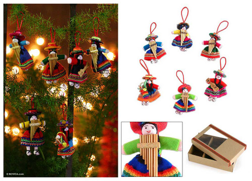 Cotton ornaments (Set of 6) 'Girl Choir'