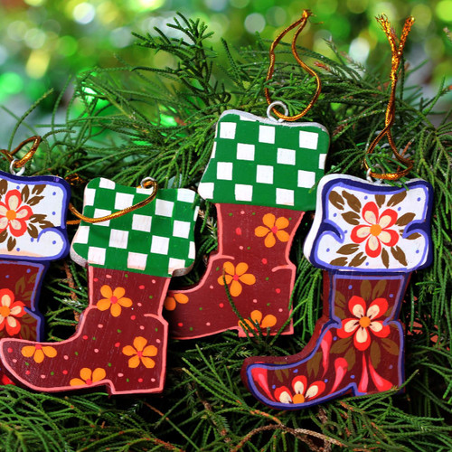 Colorful Wood Ornaments Handcrafted in Bali (set of 4) 'Christmas Stockings'
