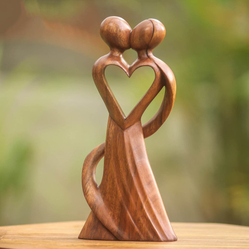 Original Wood Sculpture Hand Carved in Indonesia 'My Heart and Yours'