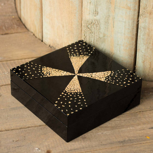 Thai Lacquered Wood Jewelry Box 'Fireworks'