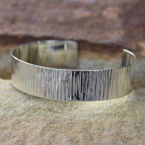 Sterling silver cuff bracelet 'Rain'