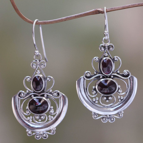 Sterling Silver Garnet Dangle Earrings 'Arabesques'